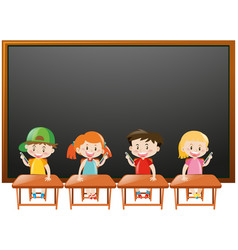 Blackboard background with kids in classroom vector