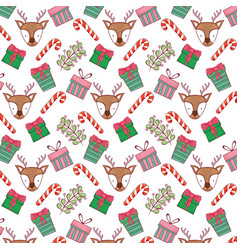 canes with wreath and deers pattern vector image