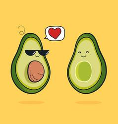 Cartoon funny avocado icon with black vector