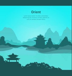 cartoon oriental chinese card poster with text vector image