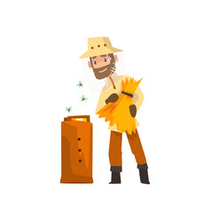 cheerful beekeeper man hiver harvesting honey vector image