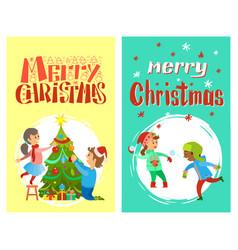 christmas holidays children playing snowballs vector image