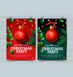 christmas party design templates posters vector image