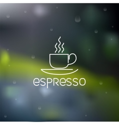 Coffee pictograph on rainy flare background vector