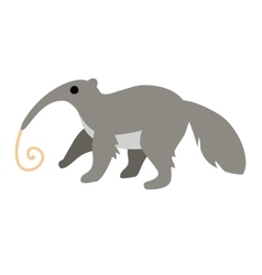Cute cartoon anteater with long tongue isolated vector