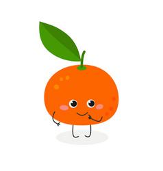 Cute cartoon tangerine vector
