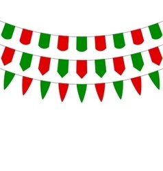 Decorative flags on greeting Christmas vector image