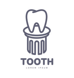 dental care logo template with tooth standing on vector image