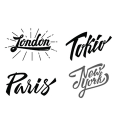 Different city names hand-lettering vector image