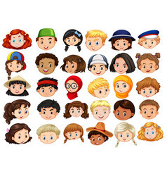 Different faces of happy children vector