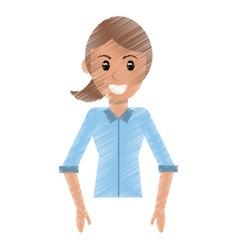 Drawing portrait woman female design vector