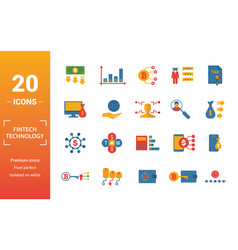 Fintech technology icon set include creative vector