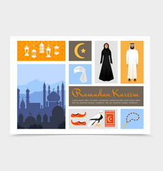 flat arabic culture composition vector image