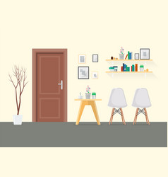 flat design interior living room with wooden door vector image