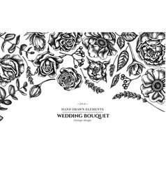 Floral design with black and white roses anemone vector
