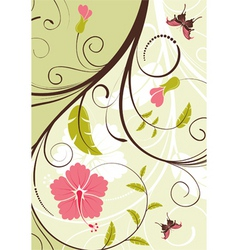 flower frame with butterfly vector image