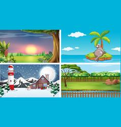 Four scenes different locations vector