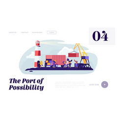 Global maritime logistic shipping port with crane vector