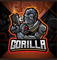 gorilla gunners esport mascot logo design vector image