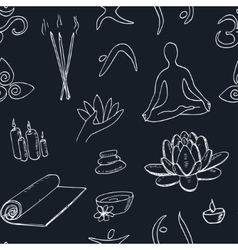 Hand drawn doodle seamless pattern yoga symbols vector image