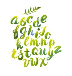 Hand drawn watercolor alphabet made vector
