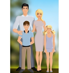 Happy family outdoor vector image