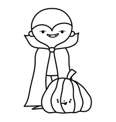 Happy halloween celebration boy monster with cape vector