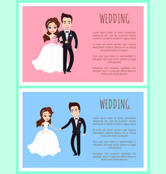 happy newlywed couple dancing bouquet flowers vector image