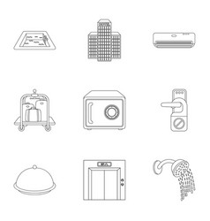 Hotel set icons in outline style big collection vector