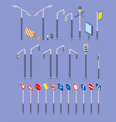 Isometric road objects icons set traffic street vector