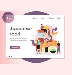 Japanese food website landing page design vector