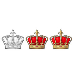 king crown engraving vintage black vector image