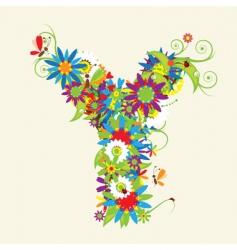 Letter Y floral design vector