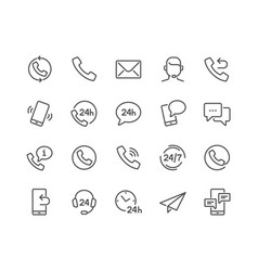 line contact icons vector image