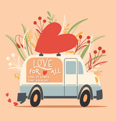 Love truck vehicle with a heart and love message vector