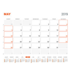 may 2019 calendar planner for 2019 year design vector image