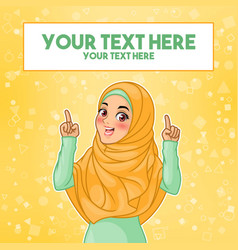 Muslim woman pointing finger up at copy space vector