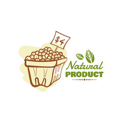 Natural product design badge vector