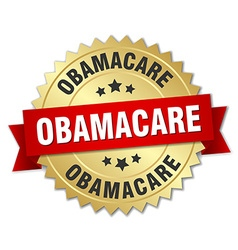 Obamacare 3d gold badge with red ribbon vector