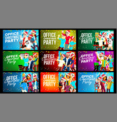 office christmas party banner set vector image