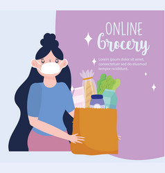 online market young woman with mask and paper bag vector image