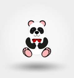 panda baby with red bow flat vector image