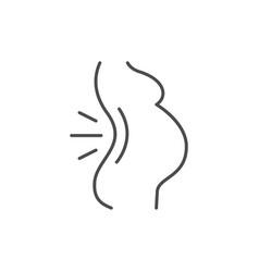 Pregnant woman backache line icon vector