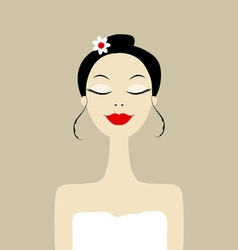 Pretty woman in spa salon vector image