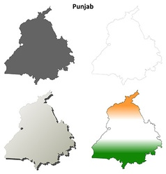 Punjab blank detailed outline map set vector