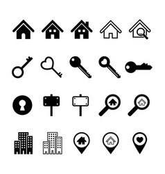 Real estate business icons set vector