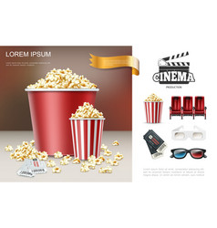 Realistic cinema and movie composition vector