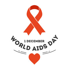 Red ribbon world aids day immune system disease vector