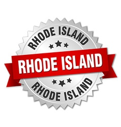 Rhode Island round silver badge with red ribbon vector