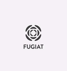 rose logo flower segment icon logotype vector image